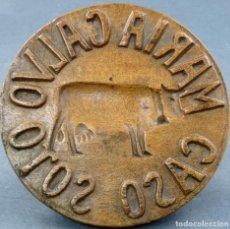 Antigüedades: SELLO DE QUESO EN MADERA ARTE PASTORIL ESPAÑOL MARIA CALVO CASO SOTO 1933 QUESO CASÍN. Lote 151093342