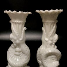 Antigüedades: PAREJA DE FLOREROS DE OPALINA BLANCA - PP. S. XX. Lote 151124422