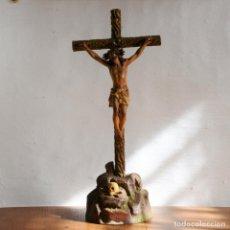 Antigüedades: IMAGEN CRISTO CRUCIFICADO * JESUS * JESUCRISTO * CRUZ * BASE CALAVERA * 44CM. Lote 151127654