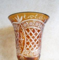 Antigüedades: ANTIGUO JARRON GRANDE DE CRISTAL DE BOHEMIA TALLADO. Lote 151211166