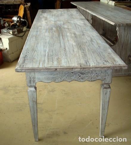 Antigüedades: Mesa consola rustica patinada en blanco, con 2 cajones y 6 patas 2,86 metros de largo - Foto 4 - 151231130