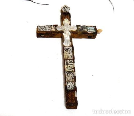 ANTIGUO CRUCIFIJO XVIII, CRUCIFIJO JERUSALÉN, CRUZ JERUSALÉN, CRUCIFIJO NÁCAR, CRUCIFIJO MADREPERLA (Antigüedades - Religiosas - Crucifijos Antiguos)