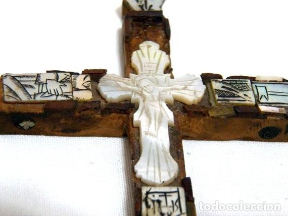 Antigüedades: Antiguo Crucifijo XVIII, Crucifijo Jerusalén, Cruz Jerusalén, Crucifijo Nácar, Crucifijo Madreperla - Foto 4 - 151238290