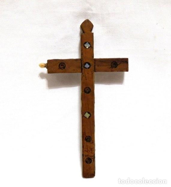 Antigüedades: Antiguo Crucifijo XVIII, Crucifijo Jerusalén, Cruz Jerusalén, Crucifijo Nácar, Crucifijo Madreperla - Foto 7 - 151238290