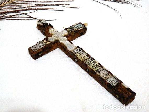 Antigüedades: Antiguo Crucifijo XVIII, Crucifijo Jerusalén, Cruz Jerusalén, Crucifijo Nácar, Crucifijo Madreperla - Foto 8 - 151238290
