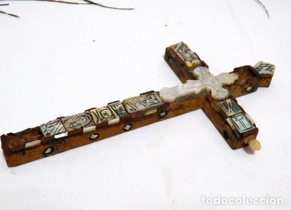 Antigüedades: Antiguo Crucifijo XVIII, Crucifijo Jerusalén, Cruz Jerusalén, Crucifijo Nácar, Crucifijo Madreperla - Foto 9 - 151238290