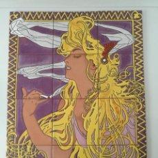 Antigüedades: MOSAICO COMPOSICIÓN EN AZULEJOS IMAGEN ART NOUVEAU DE ALPHONSE MUCHA. Lote 151265334