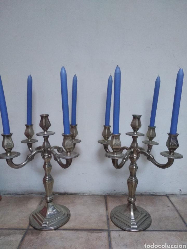 PAREJA CANDELABROS ALPACA PLATEADA (Antigüedades - Iluminación - Candelabros Antiguos)