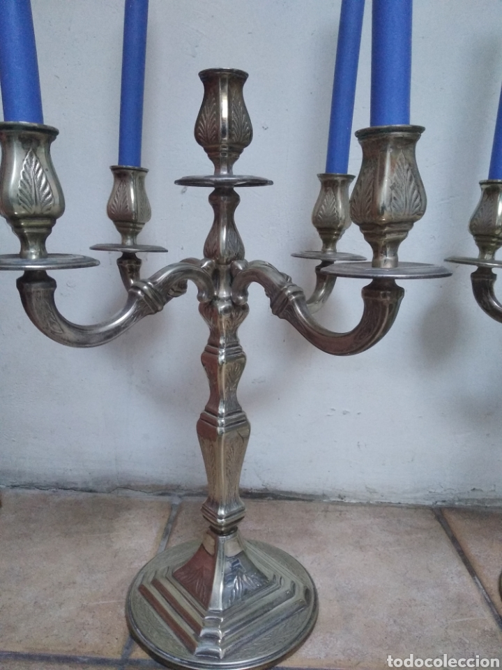 Antigüedades: Pareja candelabros alpaca plateada - Foto 2 - 151270122