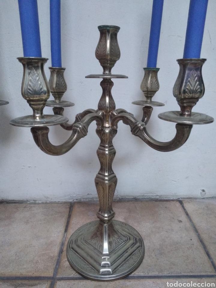 Antigüedades: Pareja candelabros alpaca plateada - Foto 4 - 151270122