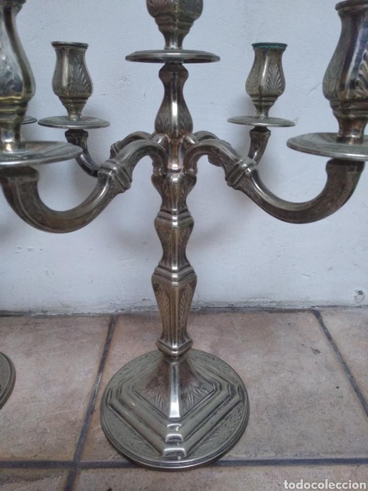 Antigüedades: Pareja candelabros alpaca plateada - Foto 8 - 151270122