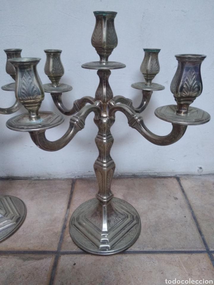Antigüedades: Pareja candelabros alpaca plateada - Foto 9 - 151270122