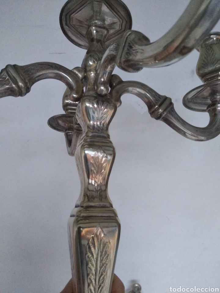 Antigüedades: Pareja candelabros alpaca plateada - Foto 14 - 151270122