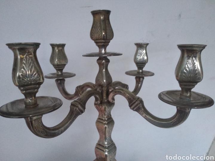 Antigüedades: Pareja candelabros alpaca plateada - Foto 15 - 151270122