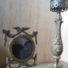 Antigüedades: LÁMPARA BRONCE DE SOBREMESA. Lote 151291604