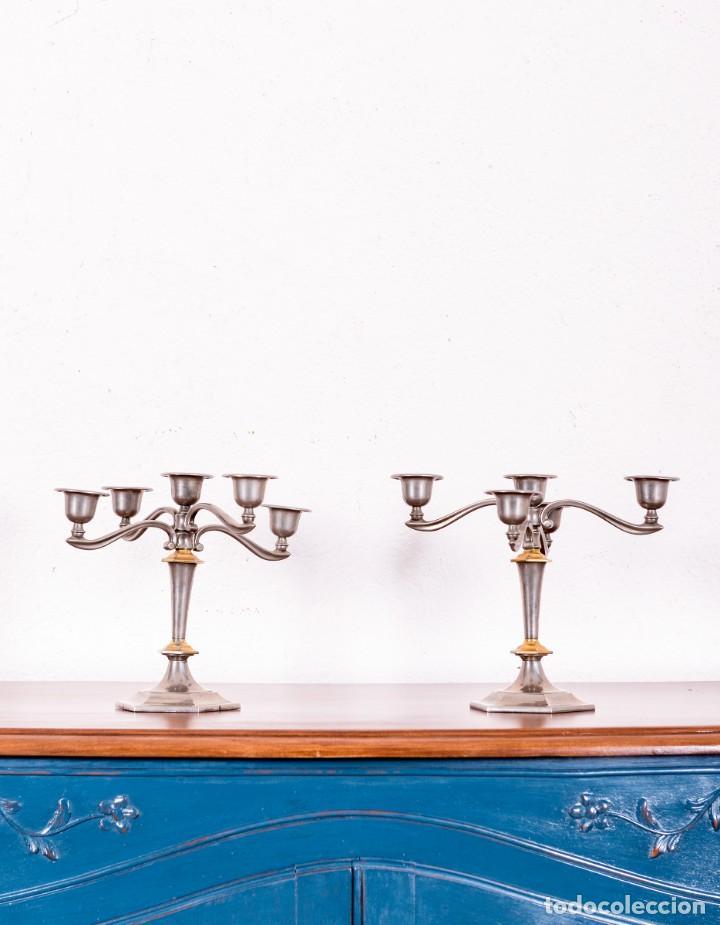 PAREJA DE CANDELABROS DE ALPACA (Antigüedades - Iluminación - Candelabros Antiguos)