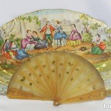 Antigüedades: ABANICO ISABELINO 1850 EN CUERNO, GRABADO COLOREADO Y PAN DE ORO. MUY BUEN ESTADO. COLECCIONISTAS . Lote 151303846