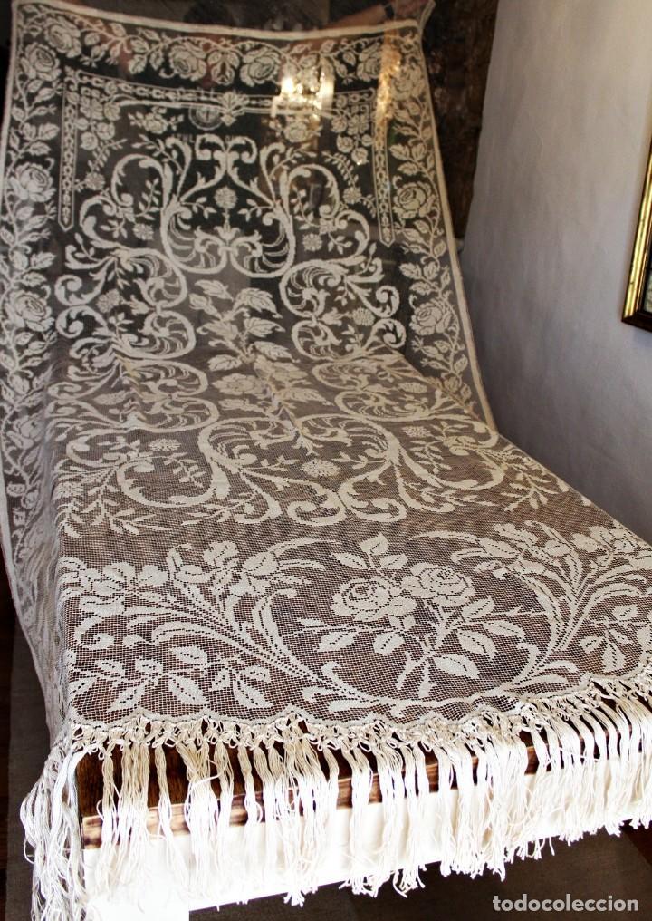 T10 GRAN CORTINA ART NOUVEAU TOTALMENTE MANUAL TELA BORDADO DE MALLA-. S XIX. 300X140 CM (Antiquitäten - Wohnen und Dekoration - Antike Gardinen und Vorhänge)
