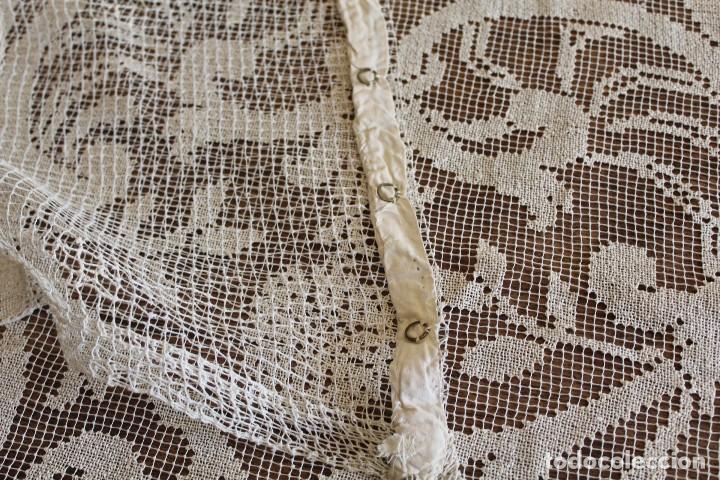 Antiquitäten: t10 Gran cortina Art Nouveau totalmente manual tela bordado de malla-. S XIX. 300x140 cm - Foto 11 - 151307598