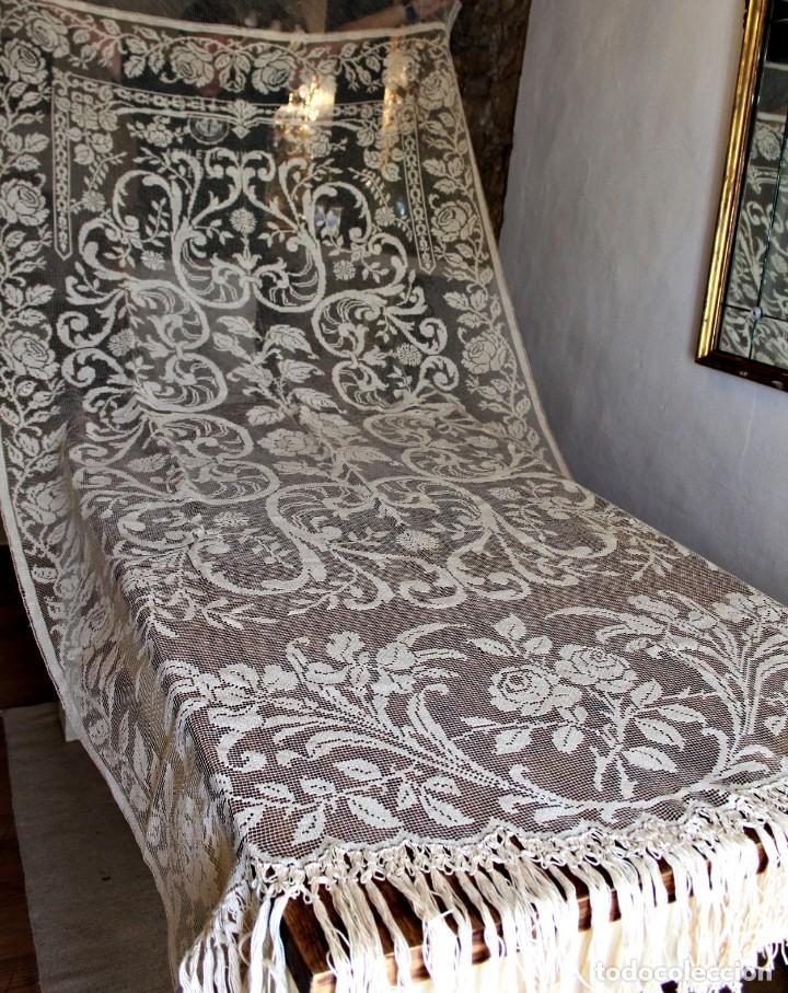 Antiquitäten: t10 Gran cortina Art Nouveau totalmente manual tela bordado de malla-. S XIX. 300x140 cm - Foto 3 - 151307598