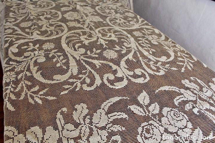 Antiquitäten: t10 Gran cortina Art Nouveau totalmente manual tela bordado de malla-. S XIX. 300x140 cm - Foto 4 - 151307598