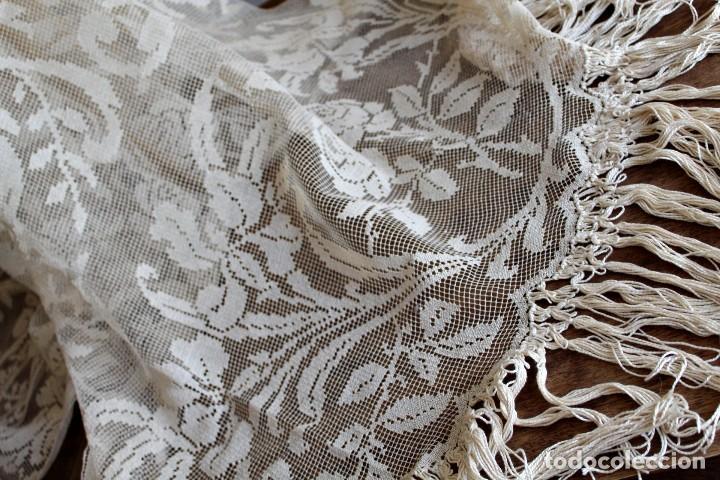 Antiquitäten: t10 Gran cortina Art Nouveau totalmente manual tela bordado de malla-. S XIX. 300x140 cm - Foto 5 - 151307598
