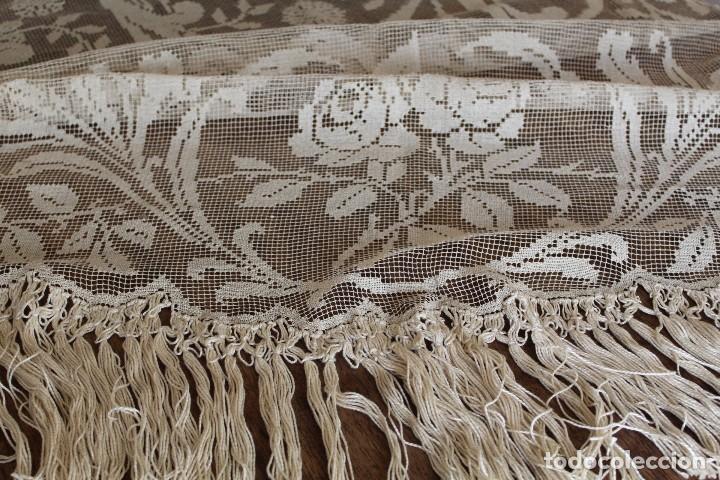 Antiquitäten: t10 Gran cortina Art Nouveau totalmente manual tela bordado de malla-. S XIX. 300x140 cm - Foto 6 - 151307598