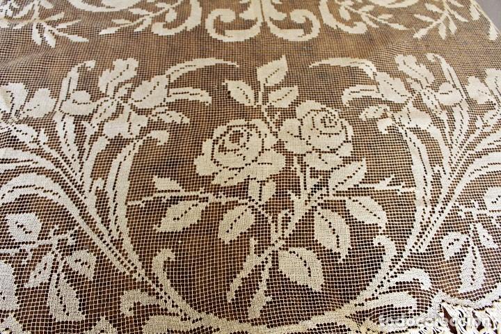 Antiquitäten: t10 Gran cortina Art Nouveau totalmente manual tela bordado de malla-. S XIX. 300x140 cm - Foto 7 - 151307598