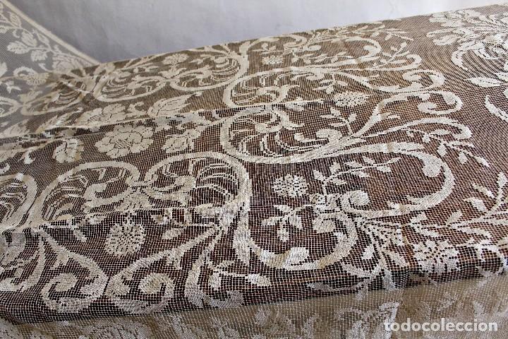 Antiquitäten: t10 Gran cortina Art Nouveau totalmente manual tela bordado de malla-. S XIX. 300x140 cm - Foto 8 - 151307598