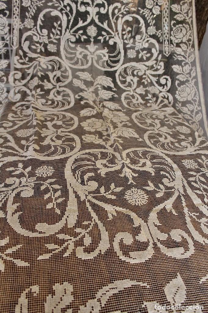 Antiquitäten: t10 Gran cortina Art Nouveau totalmente manual tela bordado de malla-. S XIX. 300x140 cm - Foto 10 - 151307598
