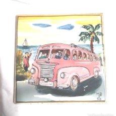 Antigüedades: BUS COSTA BRAVA AZULEJO FIRMADO AUTOR ?? AÑO 1950, BUEN ESTADO. MED. 15 X 15 CM. Lote 151343314