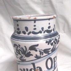 Antigüedades: ALBARELO BOTE FARMACIA LAUDA OPIO BARCELONA AÑOS 70. MED. 21 CM ALT. Lote 151343618