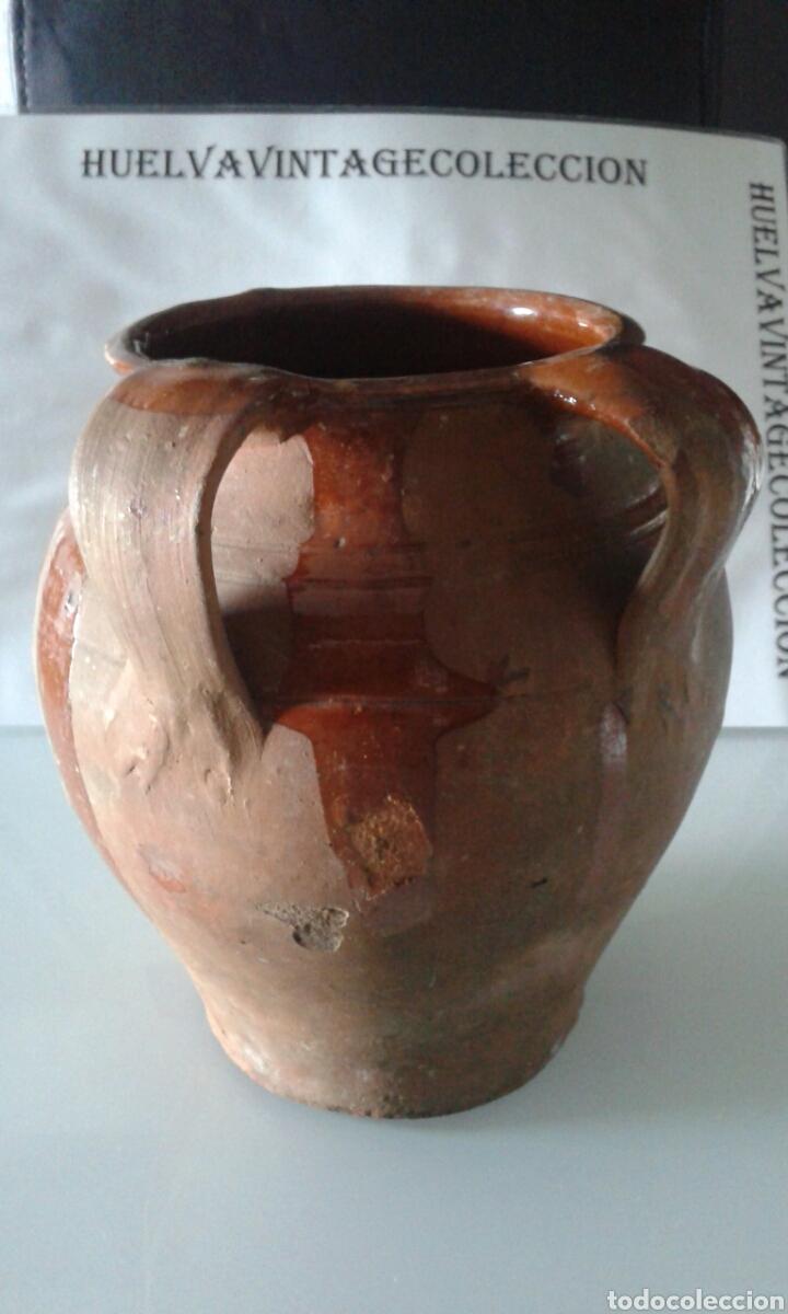 TINAJA ANTIGUA DE BARRO ESMALTADA, 21,5 CM . (Antigüedades - Técnicas - Rústicas - Utensilios del Hogar)