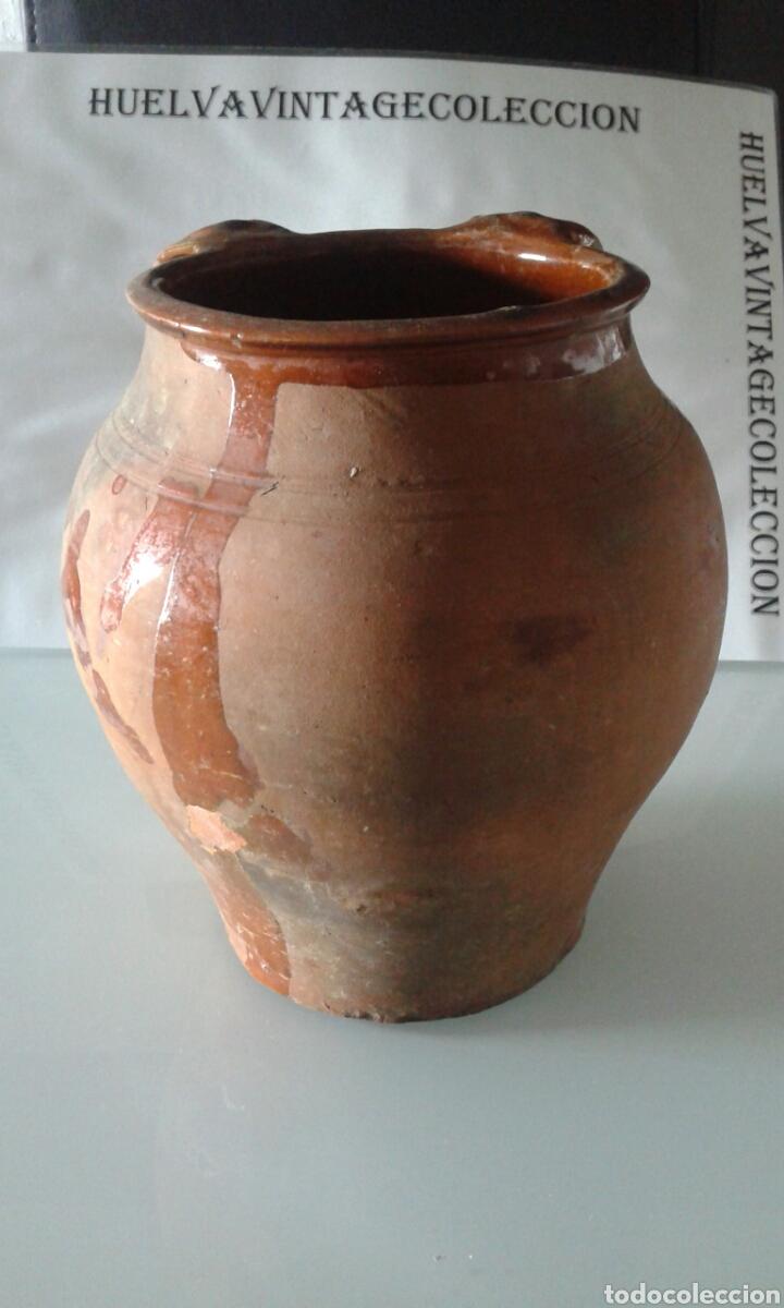 Antigüedades: Tinaja antigua de barro esmaltada, 21,5 cm . - Foto 4 - 151370860
