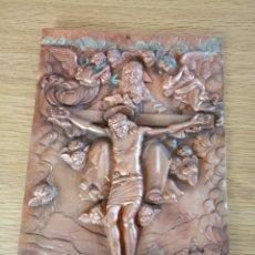Antigüedades: PLACA DE COBRE CON PRECIOSOS GRABADOS RELIGIOSOS. CUADRO.. Lote 151388026