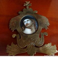 Antigüedades: ANTIGUO RELICARIO CRISTO CON CORONA DE ESPINAS PINTADO SOBRE PORCELANA SIGLO XVIII-XIX. Lote 151390014