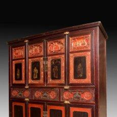 Antigüedades: ARMARIO ORIENTAL EN MADERA TALLADA Y LACADA S. XIX. Lote 151403913
