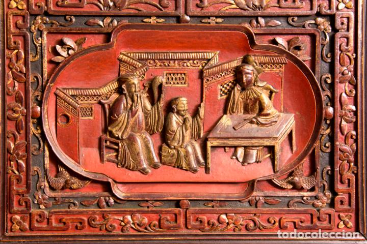 Antigüedades: ARMARIO ORIENTAL EN MADERA TALLADA Y LACADA S. XIX - Foto 6 - 151403913
