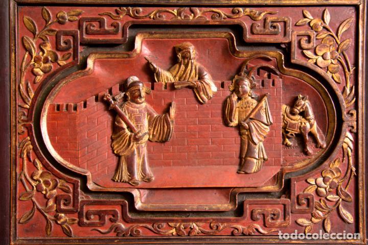 Antigüedades: ARMARIO ORIENTAL EN MADERA TALLADA Y LACADA S. XIX - Foto 7 - 151403913