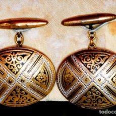 Antigüedades: PAR DE GRANDES GEMELOS DAMASQUINADOS TOLEDO VINTAGE (#7). Lote 151405810
