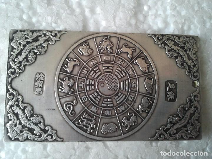 Antiquitäten: Antiguo lingote Budista de plata tibetana 124,60 gramos. Representa La Diosa de los Mil Brazos. - Foto 4 - 154400792