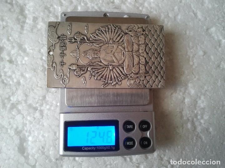 Antiquitäten: Antiguo lingote Budista de plata tibetana 124,60 gramos. Representa La Diosa de los Mil Brazos. - Foto 7 - 154400792