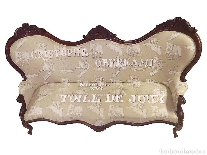 SOBERBIO SOFÁ-SILLÓN ISABELINO .CAOBA CUBANA,TOILE DE JOUY CON LETRAS- (Antigüedades - Muebles Antiguos - Sofás Antiguos)