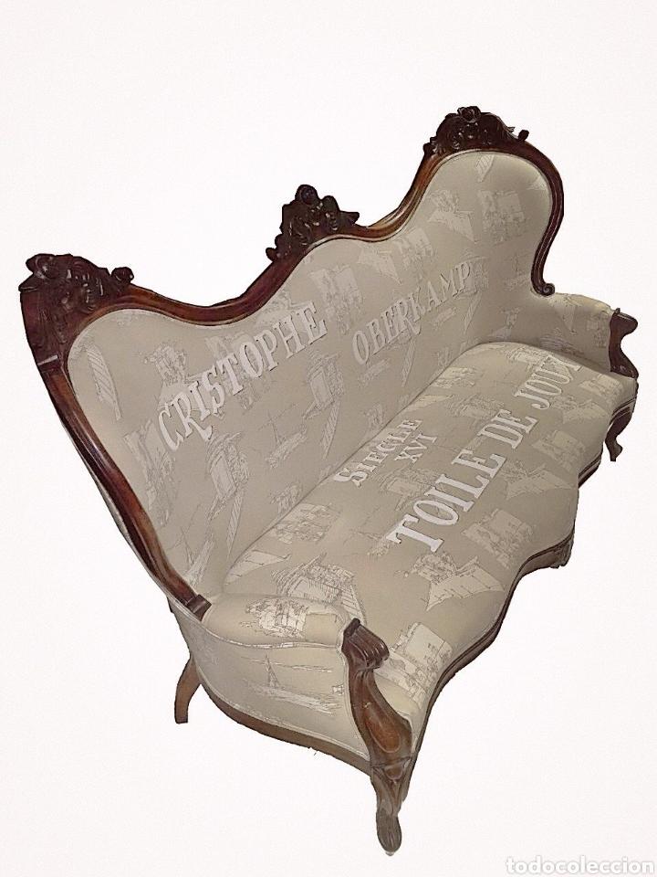Antigüedades: Soberbio sofá-sillón isabelino .caoba cubana,toile de jouy con letras- - Foto 2 - 151464877