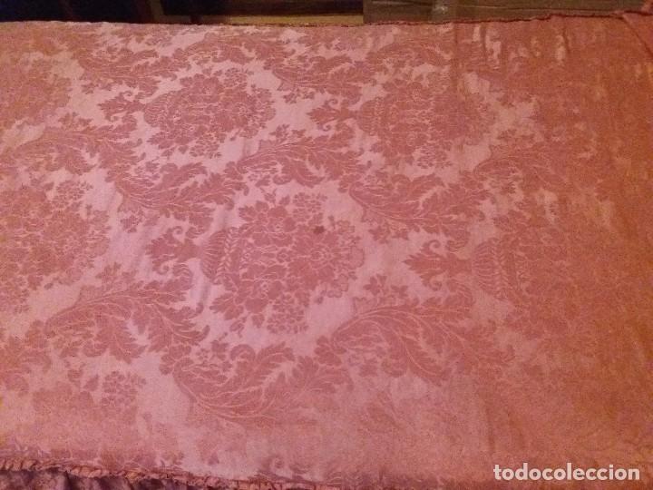 Antigüedades: Pareja colchas Damasco salmón cama 90cm - Foto 2 - 151221010
