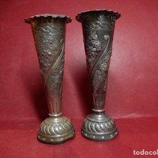 Antigüedades: DOS ESPECIE DE PORTA VELAS. PLATA. CON MARCAS DE PLATERO.. Lote 151498274