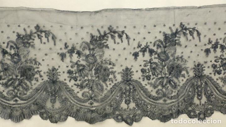 Antigüedades: ANTIGUO ENCAJE DE CHANTILLY S. XIX - Foto 2 - 151499478