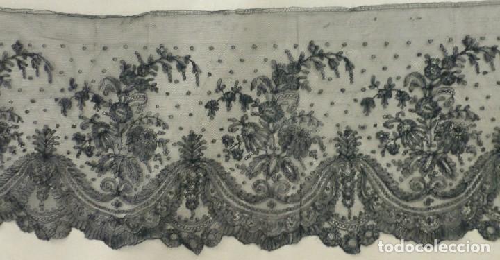 Antigüedades: ANTIGUO ENCAJE DE CHANTILLY S. XIX - Foto 4 - 151499478
