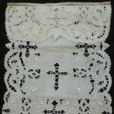 Antigüedades: ANTIGUA CORTINA DE DE ENCAJE PARA SAGRARIO S. XIX. Lote 151509882