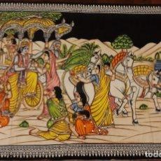Antigüedades: TAPIZ DE TELA INDIA DE GRAN DIMENSIÓN, 1,74 X 1,11. Lote 151543842